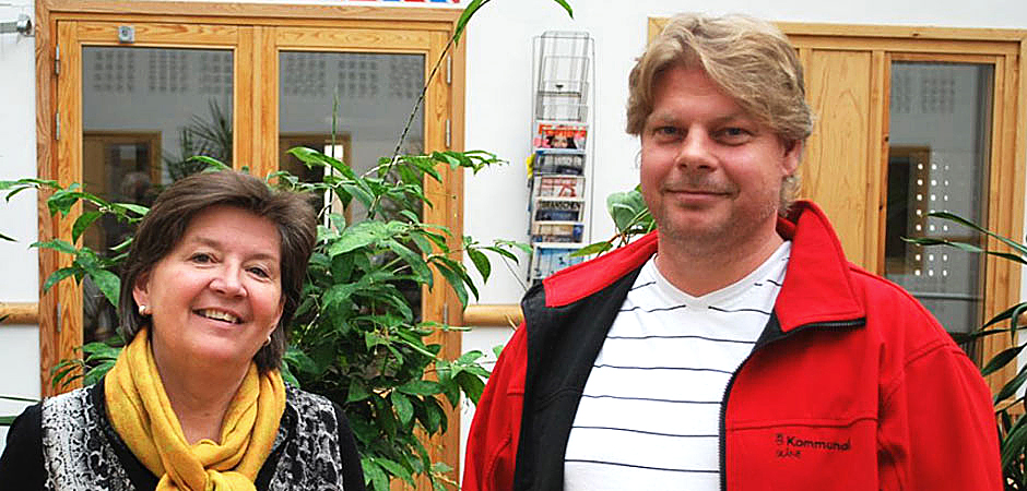 Agneta Kallstenius, arbetsmiljö- och hälsocontroller, och Martin Sjösten, huvudskyddsombud i Helsingborg.