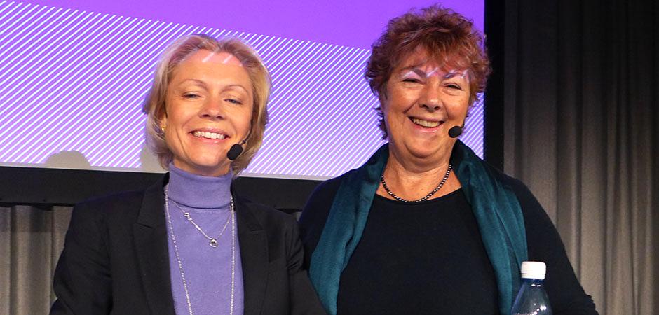 Forskarna Anna Cregård och Annika Härenstam på eventet Gilla Jobbet på Stockholmsmässan i oktober 2014.