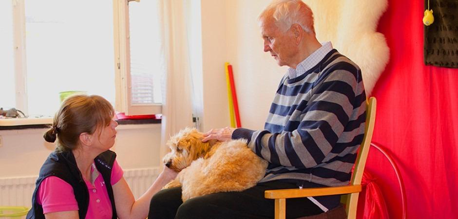 En kvinna sitter på knä och klappar en hund i en äldre mans knä