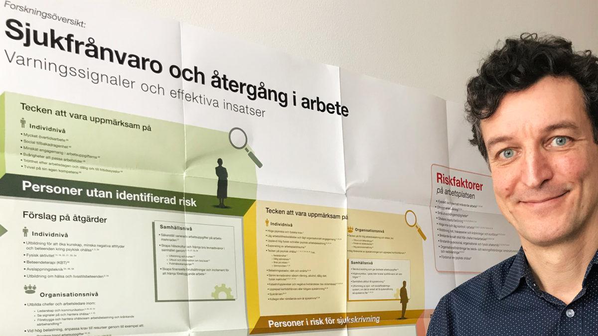 En leende man, Rickard Bracken, står framför en affisch om sjukskrivning, som går i grönt, gult och rött.