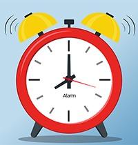 teckning av en väckarklocka. klara färger i rött, gult och ljusblått.