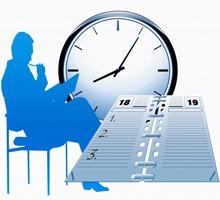 Grafik med person, klocka och kalender
