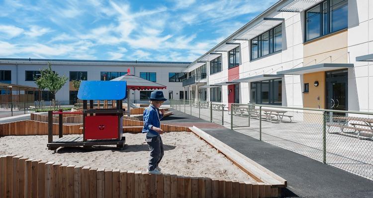 Pojke på skolgårds lekplats, lärares arbetstid