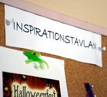 Detalj av inspirationstavla för återhämtning i arbetet.