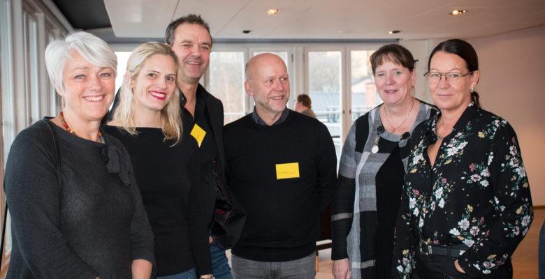 Sex representanter från SKL och Kommunal på konferens om hållbar arbetstidsförläggning.