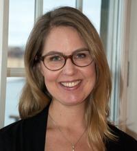 Ansiktsporträtt Anna Dahlgren, tema hållbara arbetstider.
