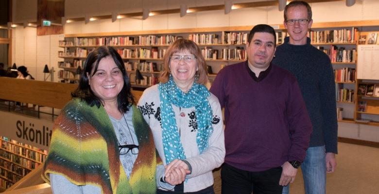 Fyra bibliotekarier på Helsingborgs stadsbibliotek, utbildning i hot och våld.