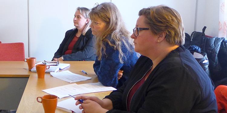 Tre skyddsombud i Gnesta kommun. Annelie Svingdahl, LR, lena Åberg, Lärarförbundet, Åsa Ekgren, Kommunal.