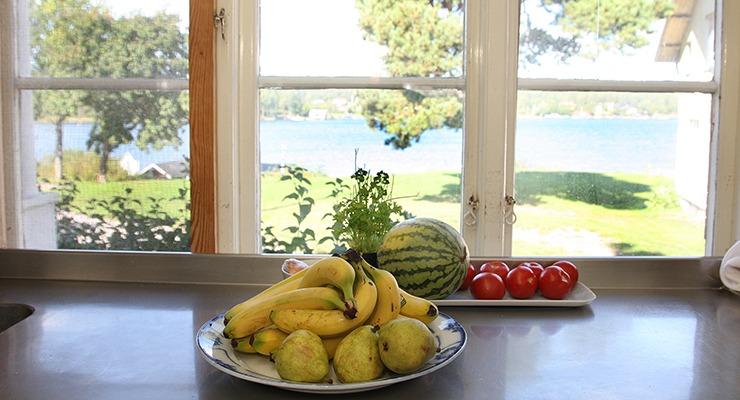 En fruktskål på en köksbänkframför ett fönster. Utanför syns en gräsmatta och Blidösundet.