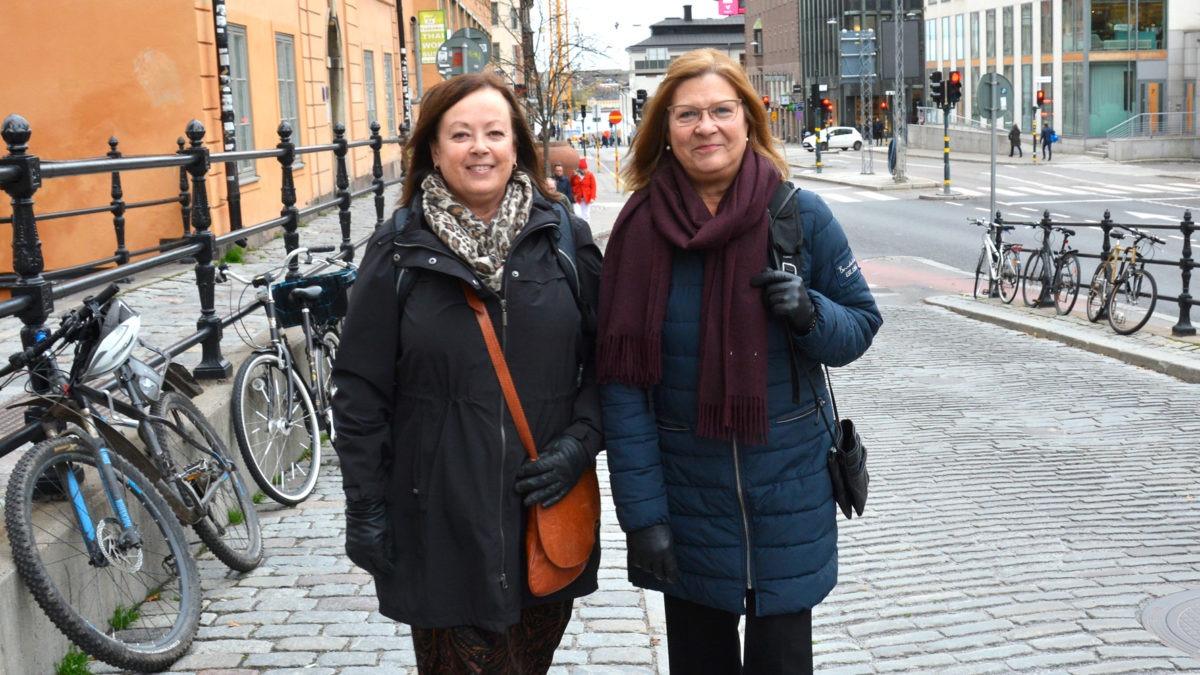 Pia svedestedt och Christina Norlin Mistander går på Hornsgatan..