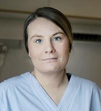 Porträtt på Sara Hulén, sjuksköterska och skyddsombud på kirurgavdelningen, Hudiksvalls sjukhus.