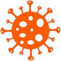 tecknad orange coronaboll med taggar