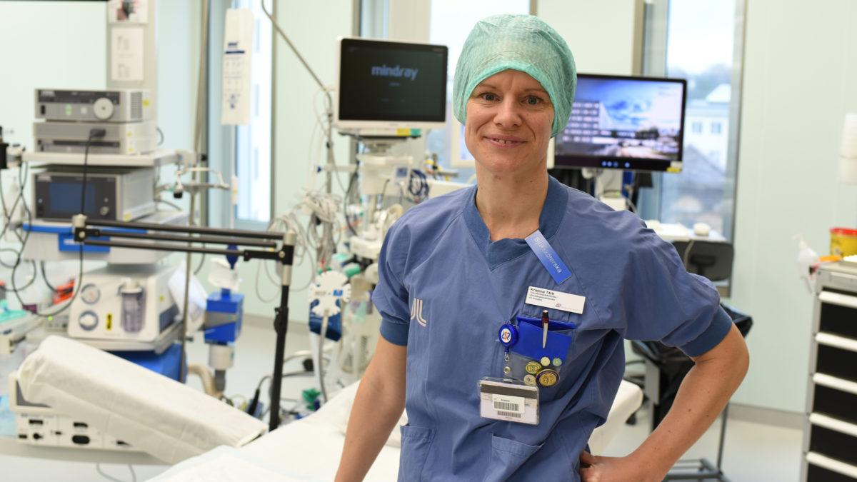 Kristina Tärk i ett intensivvårdsrum