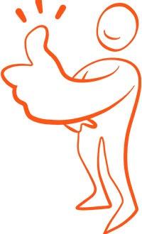suntarbetslivs illutration i orange med en tecknad figur som gör tummen upp.