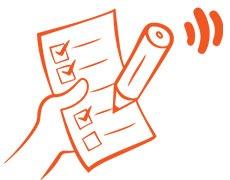 Checklita - Suntrbetslivs illustration med en hand, en penna och ett papper med punkter som bockats av